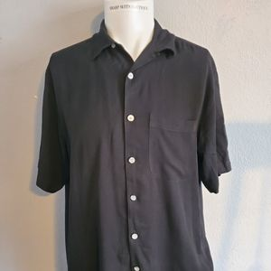 Island Mist Black Silk Camp Shirt Medium Excellent